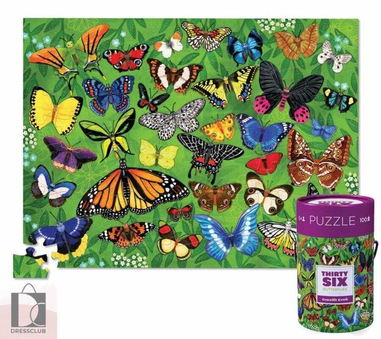 Пазл в цилиндре 36 Животных, Бабочки, 100 шт