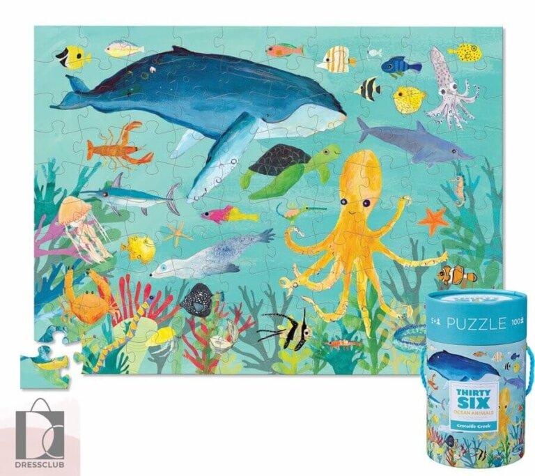 Пазл в цилиндре 36 Животных, Животные океана 100 шт