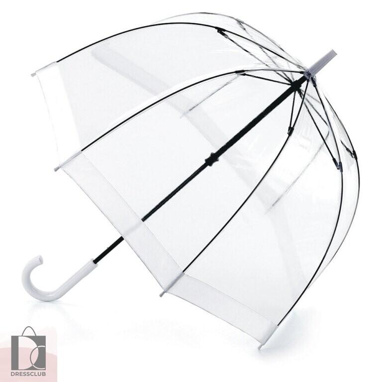 Fulton L041-02 Прозрачный женский зонт-трость с полосой белого цвета, механика, BIRDCAGE