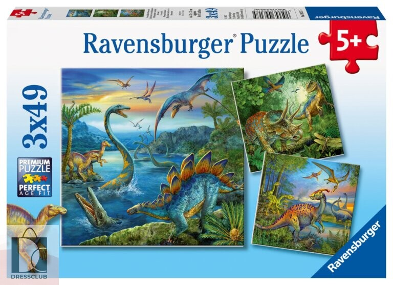 Набор пазлов Ravensburger «Динозавры», 3х49 элемента