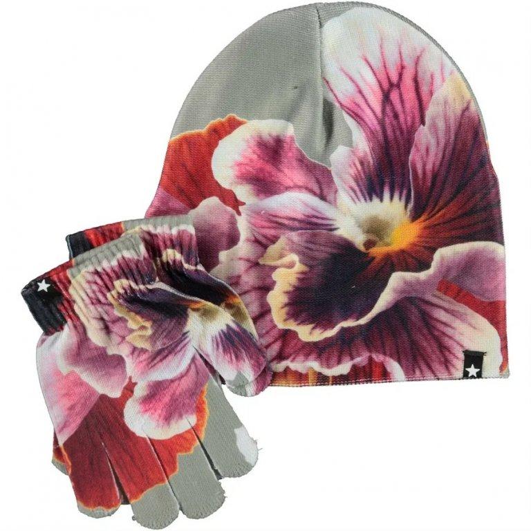 Molo Kaya Floral Zoom шапка с перчатками