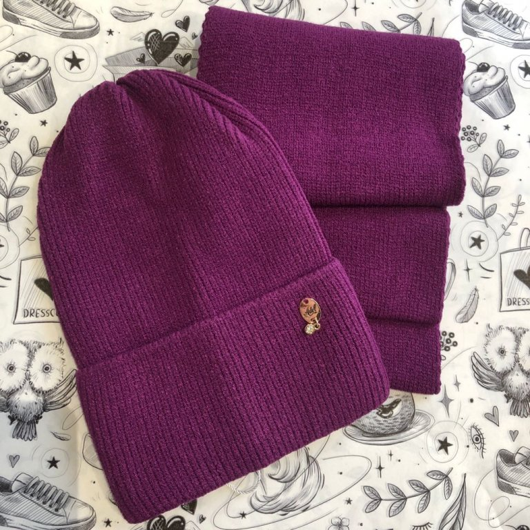 Комплект Виктория (шапка+снуд) сливовый
