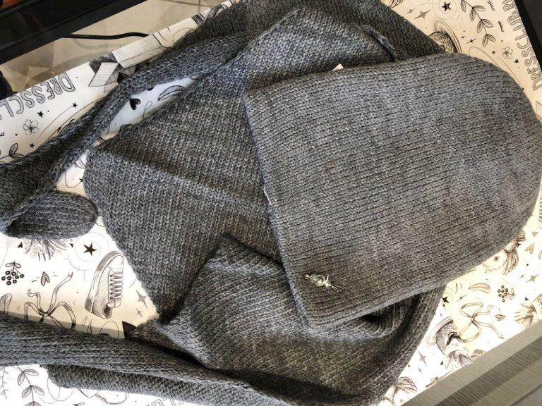 Комплект Фелиция (шапка+бактус) темно-серый