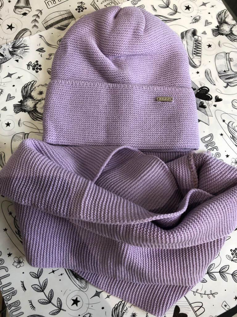 Комплект Синтия (шапка+снуд) сирень